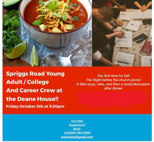 Young Adult Gathering: October 5th, 5:30pm