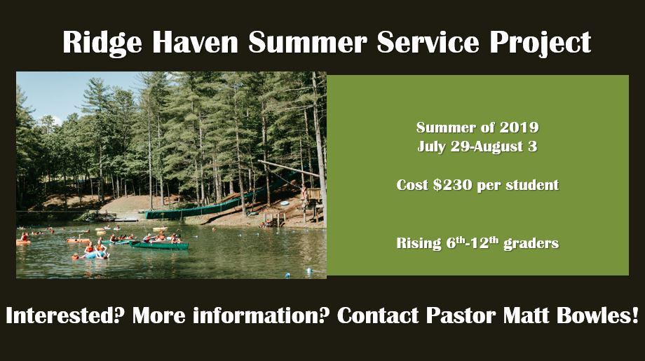 SRPC Youth Service Project at Ridgehaven: July 29- Aug 3, 2019